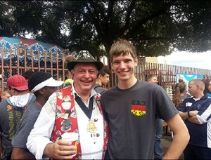 Junior Bradley Wersterfer, 2nd place Prose Memory winner, poses with the past president of Wurstfest, a German convention in New Braunfels, on Jan. 11.