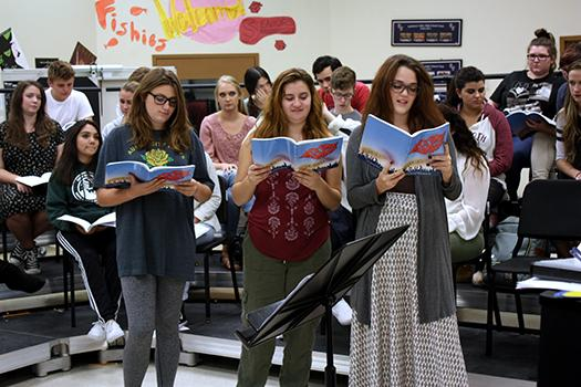 During rehearsal, choir students prepare for an upcoming performance.