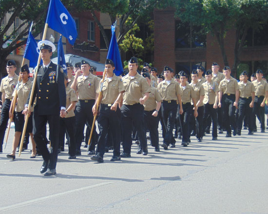 JROTC marches in New Braunfels on Comal County Fair Day last year.
