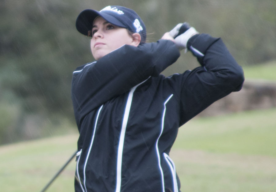 Junior Karlee Nichols takes a stroke on the fairway in the AM Consolidated Lady Tiger invitational. The team finished 5th in the tournament on March 5.
