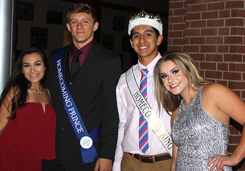 Seniors Maddie Carlson, Homecoming Prince CJ Kuehler, Homecoming King Bobby Palomin, and Homecoming Princess Macky Foley attended the Homecoming Dance on Oct 2.