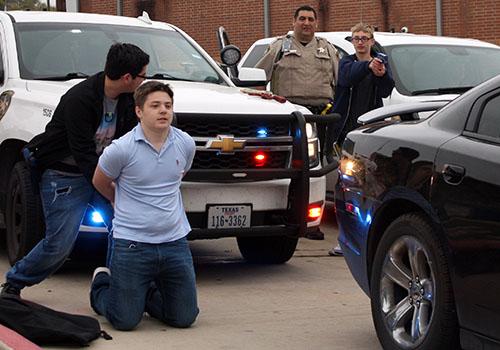 Law enforcement classes practice traffic stops