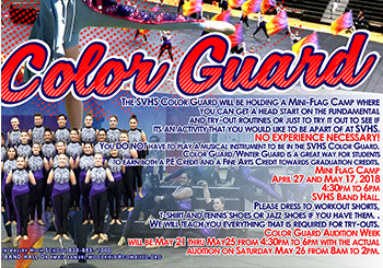 Color Guard will hold flag camps preparing for tryouts Friday, April 27. and Thursday, May 17.
