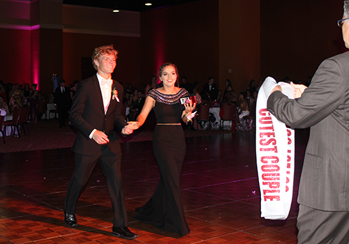 Seniors Brock Day and Annie Vollmer receive the cutest couple superlative at prom on May 12.