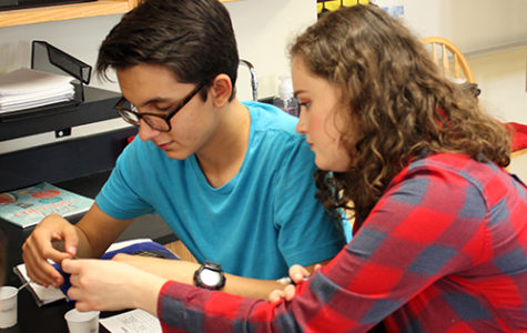 Sophomore Patric Iiams and junior Alyssa Scarsella add some chemicals to a solution to try and discover the pH of the solution for a chemistry lab on May 7.