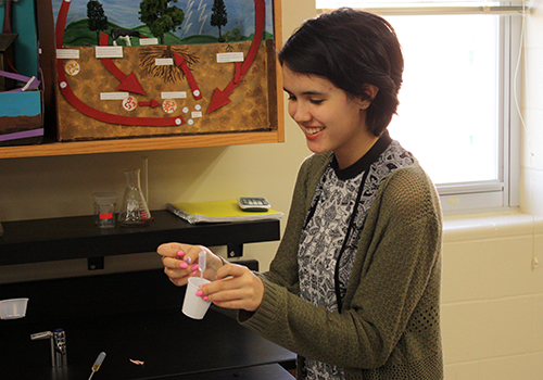 Sophomore Skylar Hoover laughs as the results she got form her chemistry lab were not what she was expecting on May 8.