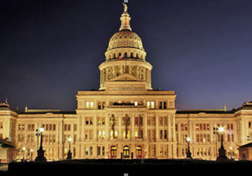 The Capitol building in Austin, Texas lights up the night.