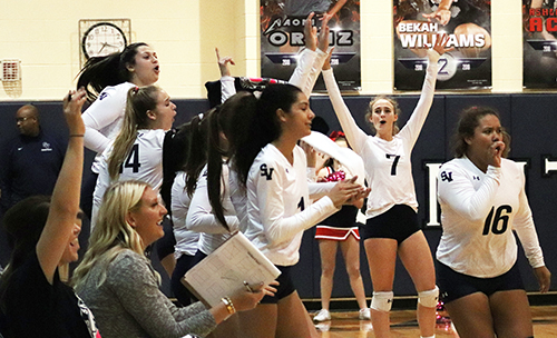 After yet another score, senior Tara McLeod, her teammates and coaches celebrate during the Steele match Tuesday at home.