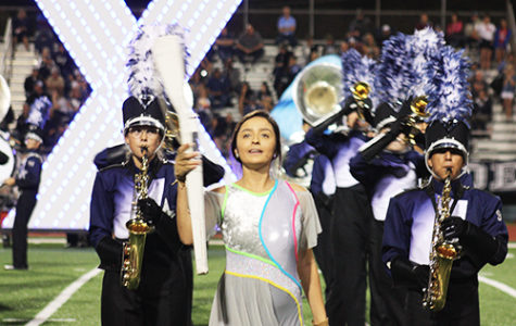 Band and color guard eXecute at competition