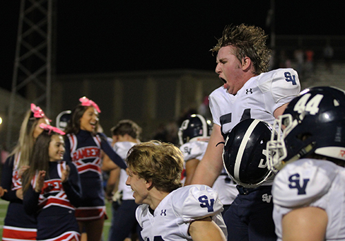 OL #54 Taylor Brooks celebrates a big win over Steele.