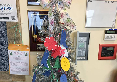 Ornaments with children's wish lists can be picked up in the front office. Gifts are due by Dec. 7.
