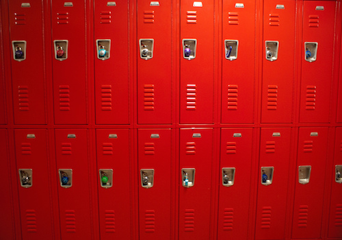 School officials removed lockers during the 2008-2009 school year.