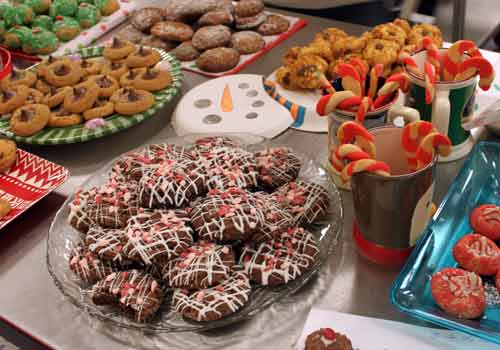 After perfecting their baking skills, chefs in Margaret Marucci's culinary class enter their holiday cookies for contest based on taste, appearance and texture. Junior Leah Cozzie's chocolate cookies with crushed peppermints took first place.