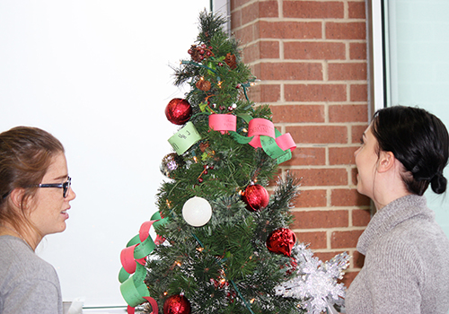 National Honor Society officers Mackenzie Thornley and Grace Hedgpeth decorate the Christmas tree in the senior dining hall.
