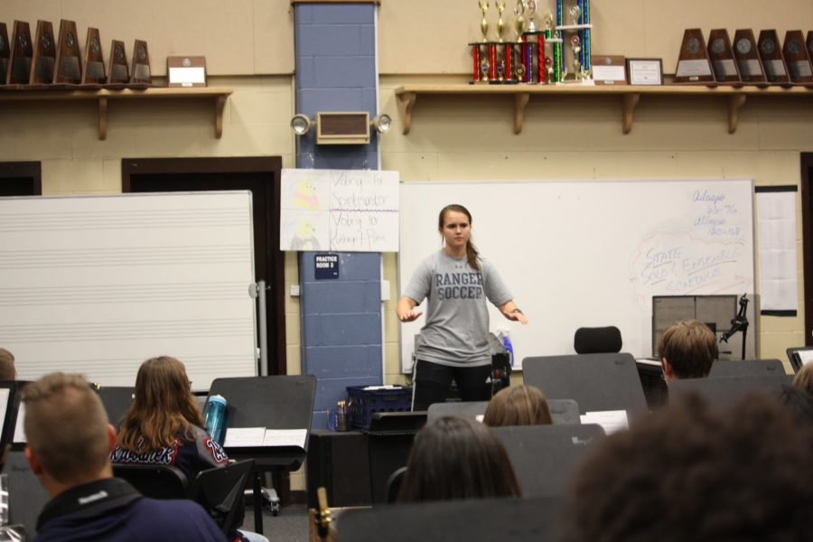 Sophomore clarinetist Kate Fey undertakes her turn at the podium.