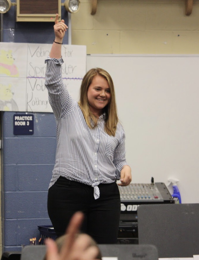 Junior percussionist Nicole Gomez gets her gun up high at the end of her audition.