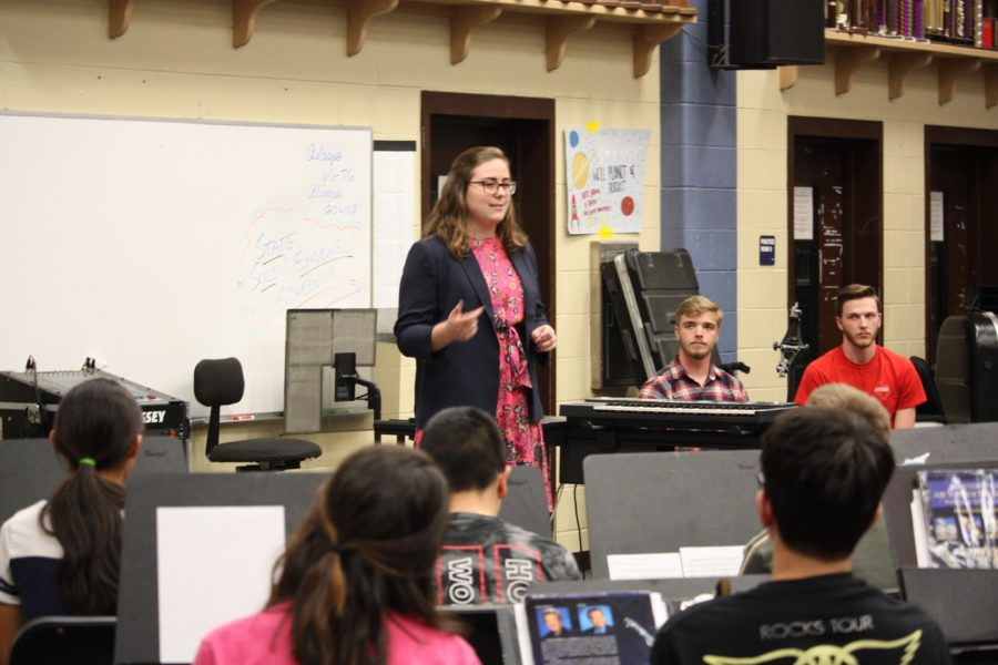 Junior trumpeter Caroline Kuhn introduces herself to the onlookers.