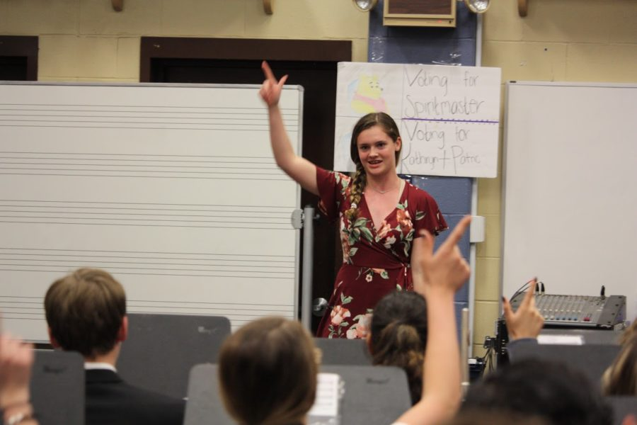 Sophomore percussionist Hadley Thomas concludes her audition with Ranger pride.