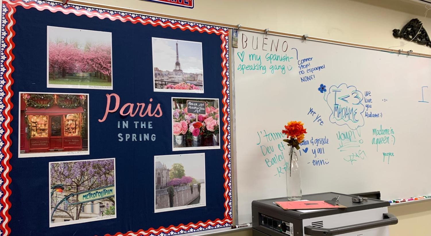 Teacher LeighAnn Hinsch's French classroom in A104.