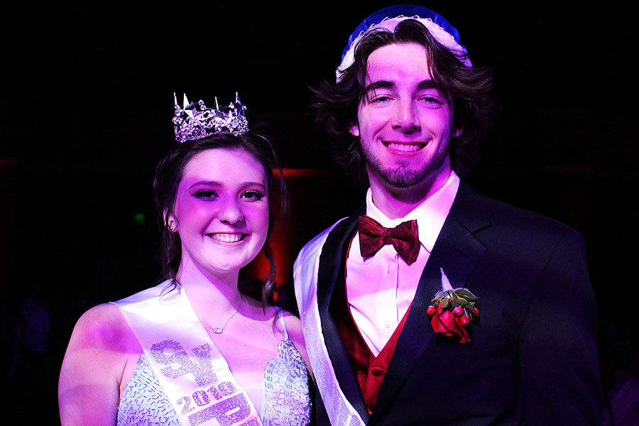 Donned+in+their+royal+apparel%2C+prom+queen+Sequoia+White+and+king+Wyatt+Doss+rule+the+dance+floor.