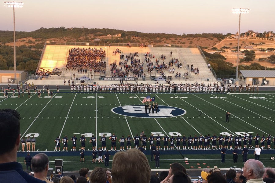 The Ranger Band performs the National Anthem prior to Friday night's 43-15 win over Pflugerville Hendrickson.