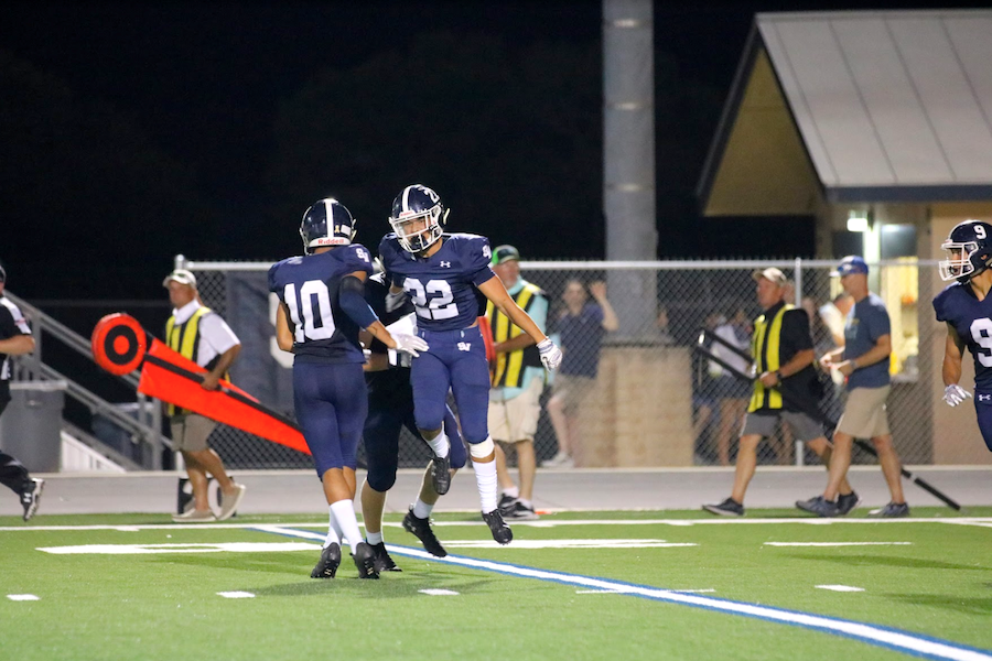 Safeties Jacob Perez and Jackson Sennie high-five after forcing an incompletion against Hendrickson. The Ranger secondary will be tasked with slowing down star QB Didomenico, who has 10 touchdowns.