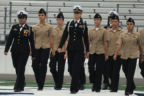 During the Veterans Day ceremony Monday at Ranger Stadium, members of the ROTC