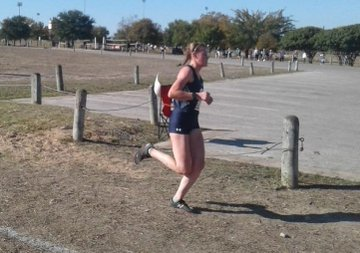 Sara Scott paces herself at the state meet in Round Rock. In her 5K race, she ran a personal best.