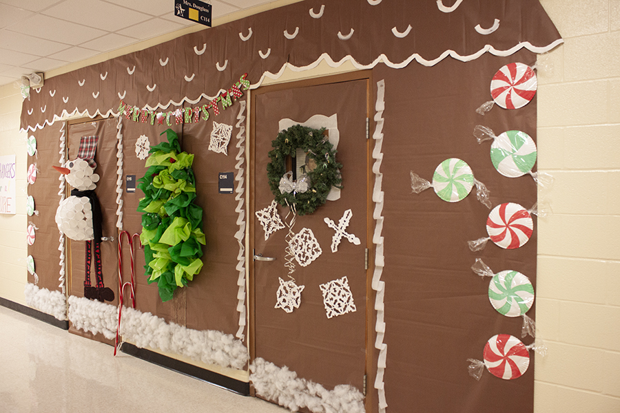 In+C+wing%2C+Shauna+Douglass%27s+gingerbread+house+features+a+snowman+made+of+Styrofoam+cups+and+a+tree+made+of+tissue+paper.