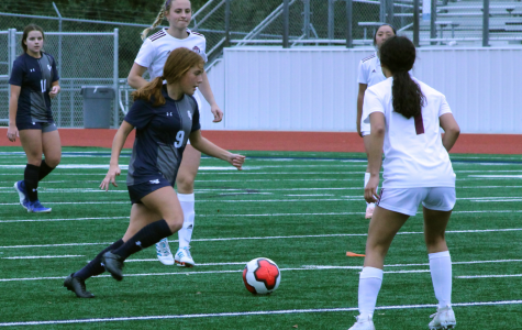 Freshman Sabrina Taber dribbles down the pitch during a 10-1 victory Uvalde in the Ranger Classic. Taber scored five of the Rangers' 10 goals.