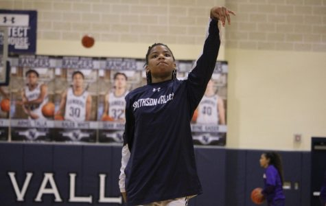 Trinity Garrett warms up prior to a game against San Marcos. Garrett and the Rangers lost to Westlake on Tuesday, 63-34.