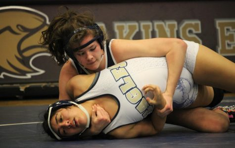 Sage Benca wrestles an opponent during this past weekend's wrestling meet. Benca will compete in this weekend's meet in Austin.
