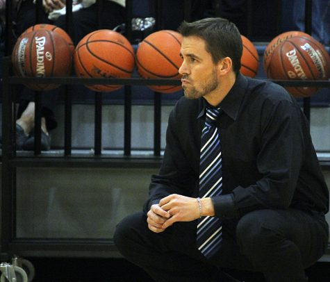 Coach Matthew Sutherland watches his Lady Rangers during the San Marcos game Jan. 21.