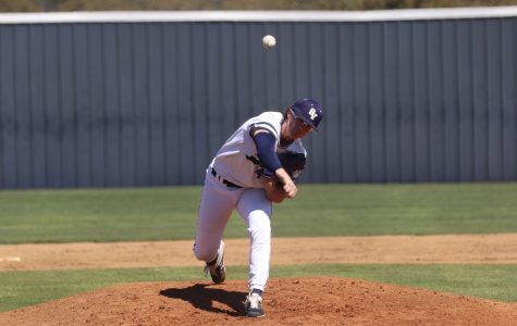 Shea Walker hurls a pitch against Fort Bend Clements. Walker pitched six innings, allowing two runs and striking out four.