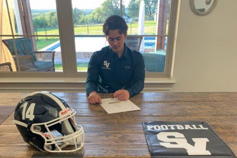 Senior Joaquin Rodriguez signs his letter of intent to play at Texas Lutheran University. Rodriguez hopes to kick and punt for the Bulldogs.