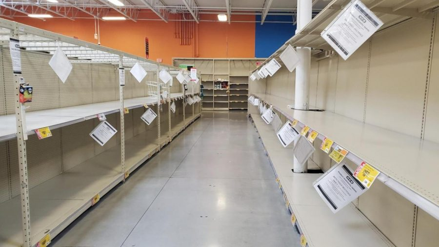The+paper+goods+aisle+at+H-E-B+stands+empty%2C+much+as+it+has+since+the+middle+of+March.