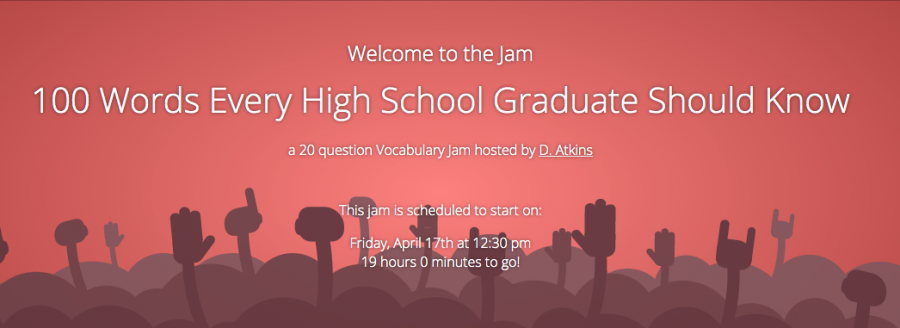 The vocabulary jam takes place Friday at 12:30 p.m.