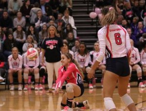 Ashley Acuna digs at the pink out game