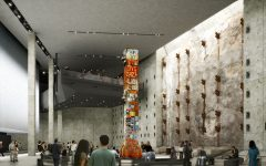The World Trade center features a 9/11 memorial. The retaining wall and