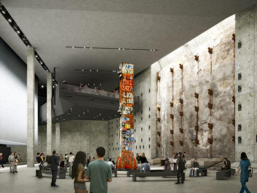 "The World Trade center features a 9/11 memorial. The retaining wall and ""Survivor Steps"" can be seen here. https://www.wtc.com/media/photos/911-memorial-and-museum"