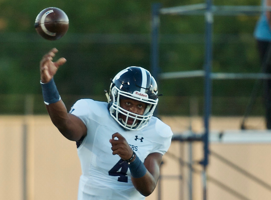 Quarterback Jalen Nutt releases the ball at home against Wagner, in which the Rangers lost in overtime, 27-24.