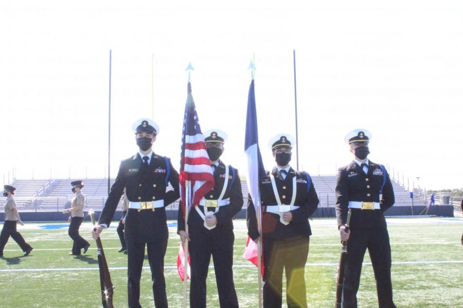JROTC and color guard perform at this past semester's Veterans Day ceremony.