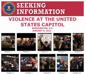 The FBI is requesting information regarding individuals sparking violence at the Capitol storm via released photographs. Tips can me made on the FBI website. https://www.fbi.gov/wanted/capitol-violence