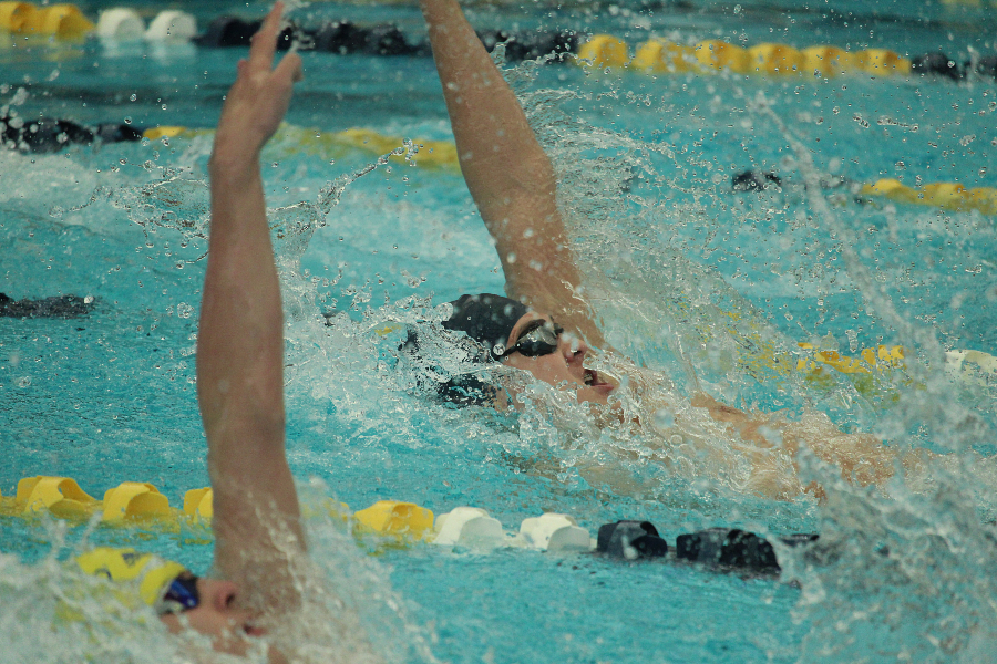 Colin Doyle swims backstroke in the 200 medley relay at the district championship.