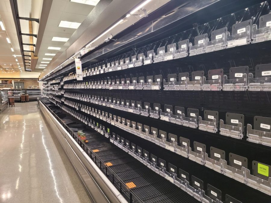 Supermarkets and other stores faced supply shortages throughout snowvid.