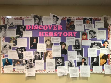 The Discovering 'Herstory' bulletin board in the library showcases influential women in history. Librarian Amanda Trussell decorated the board with the intention of spreading awareness for Women's History Month.