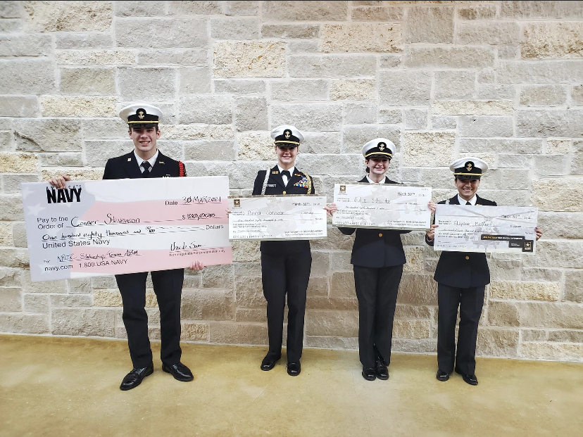 Conner Stevenson, Anna Johnson, Julie Schultz, and Alyssa Meffert receive ROTC scholarships.