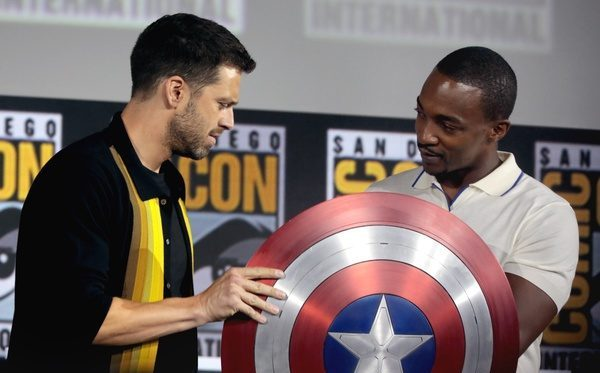 Sebastian Stan (Bucky Barnes) and Anthony Mackie (Sam Wilson) hold Captain America's