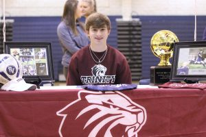 Senior Colton Adkins signed to attend Trinity University to continue his soccer career.