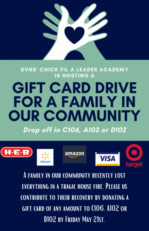 Gift cards can be dropped off in classrooms A102, C106 and D102.